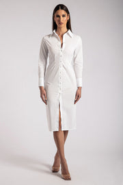 Kiara Midi Shirt Dress- White