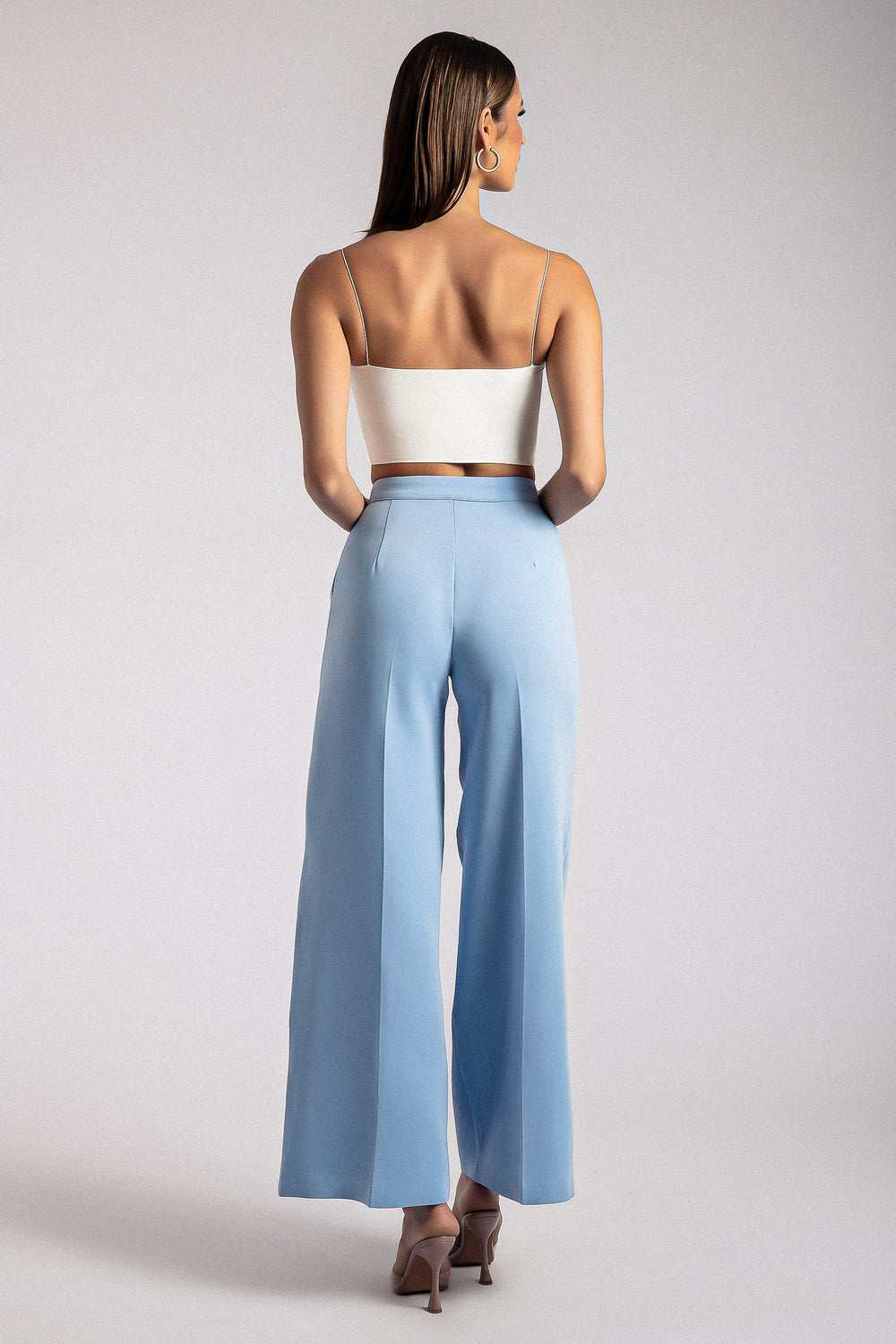 Alana Wide Leg High Waist Pants - Heritage Blue