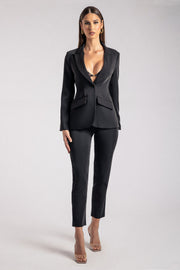 Helda Fitted Cinched Waist Blazer - Black