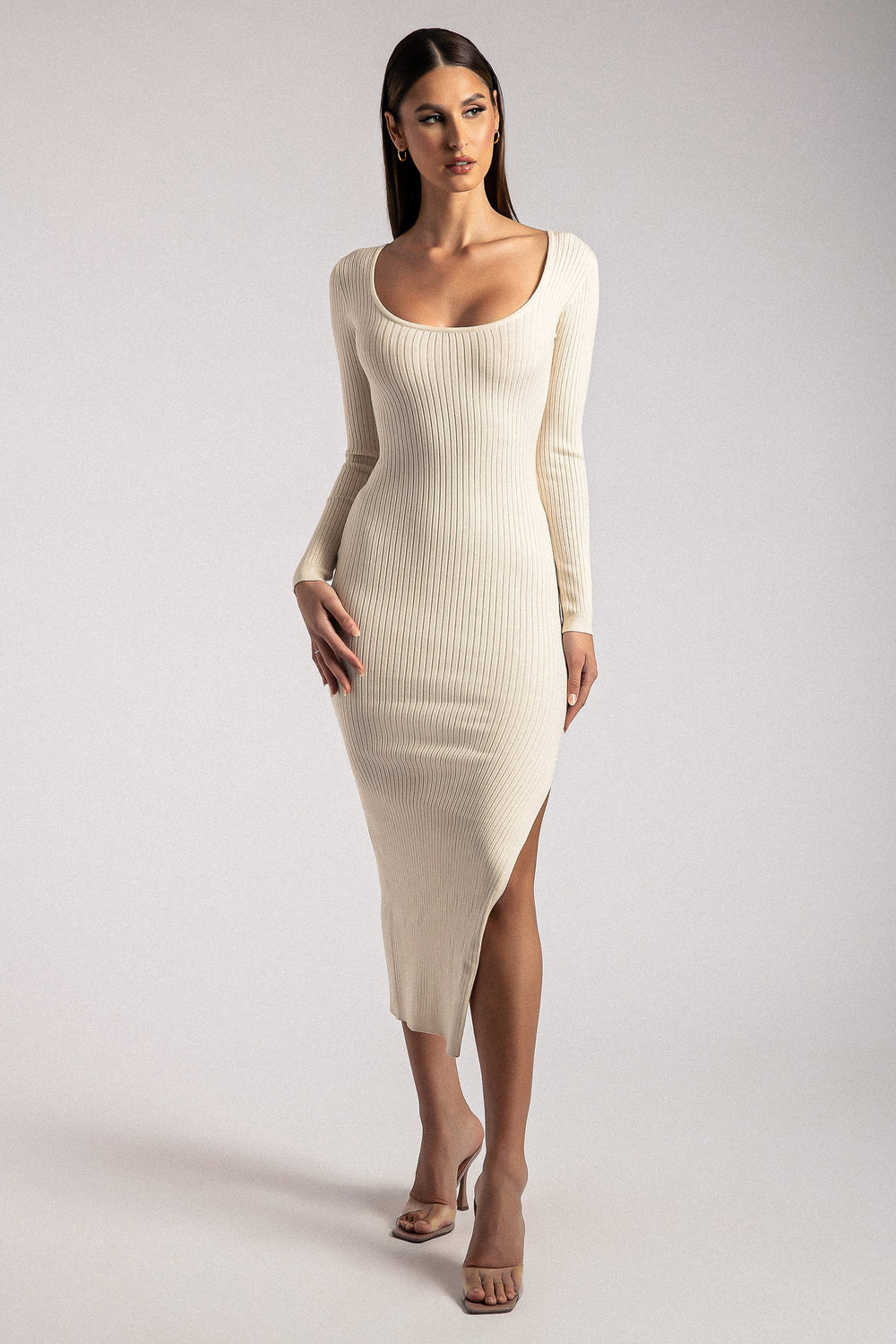 Cali Long Sleeve Scoop Neck Midi Dress - Cream
