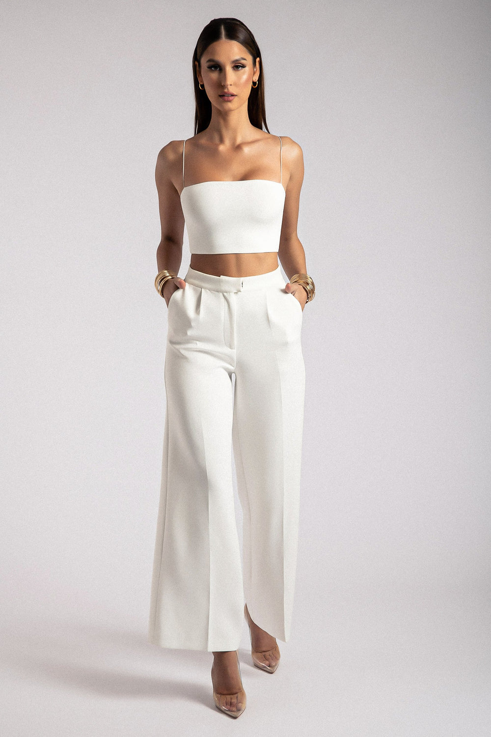 Alana Wide Leg High Waist Pants - White