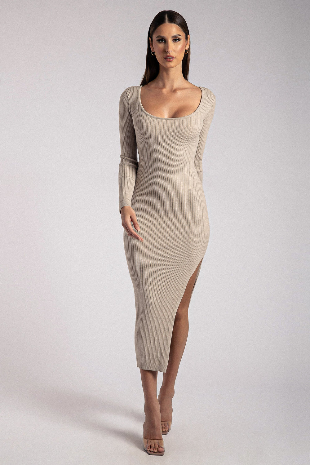 Cali Long Sleeve Scoop Neck Midi Dress - Taupe