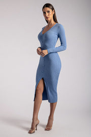 Brynn Long Sleeve Button Down Midi Dress - Heritage Blue