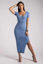 Nina Short Sleeve Midi Dress - Heritage Blue