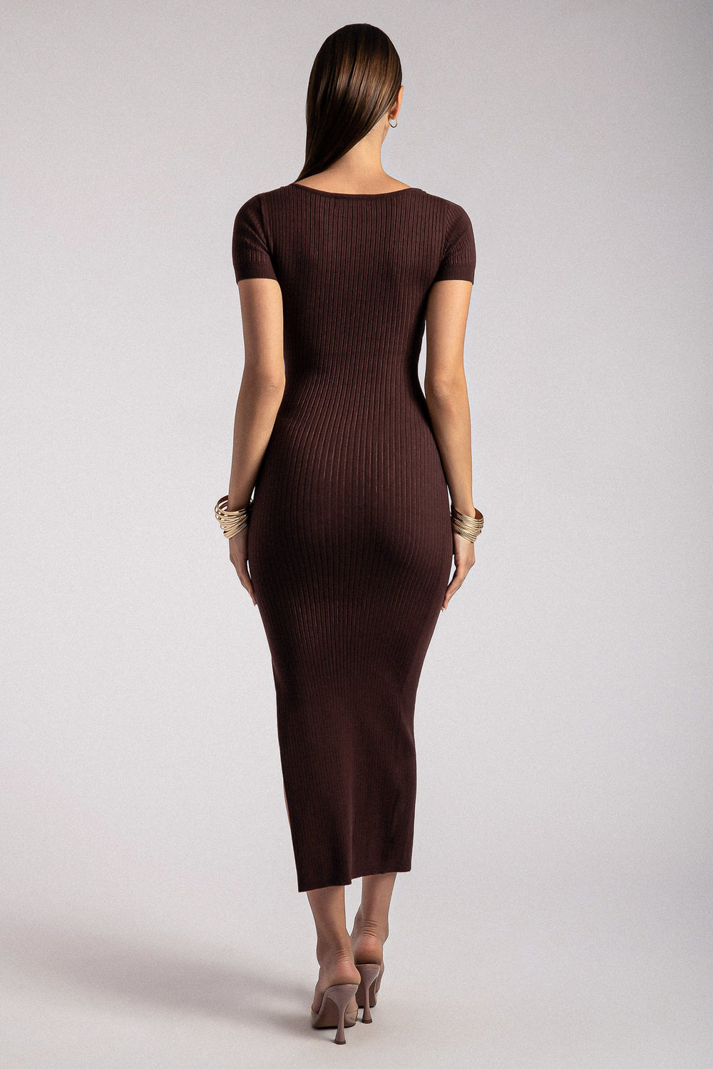Nina Short Sleeve Midi Dress - Chocolate