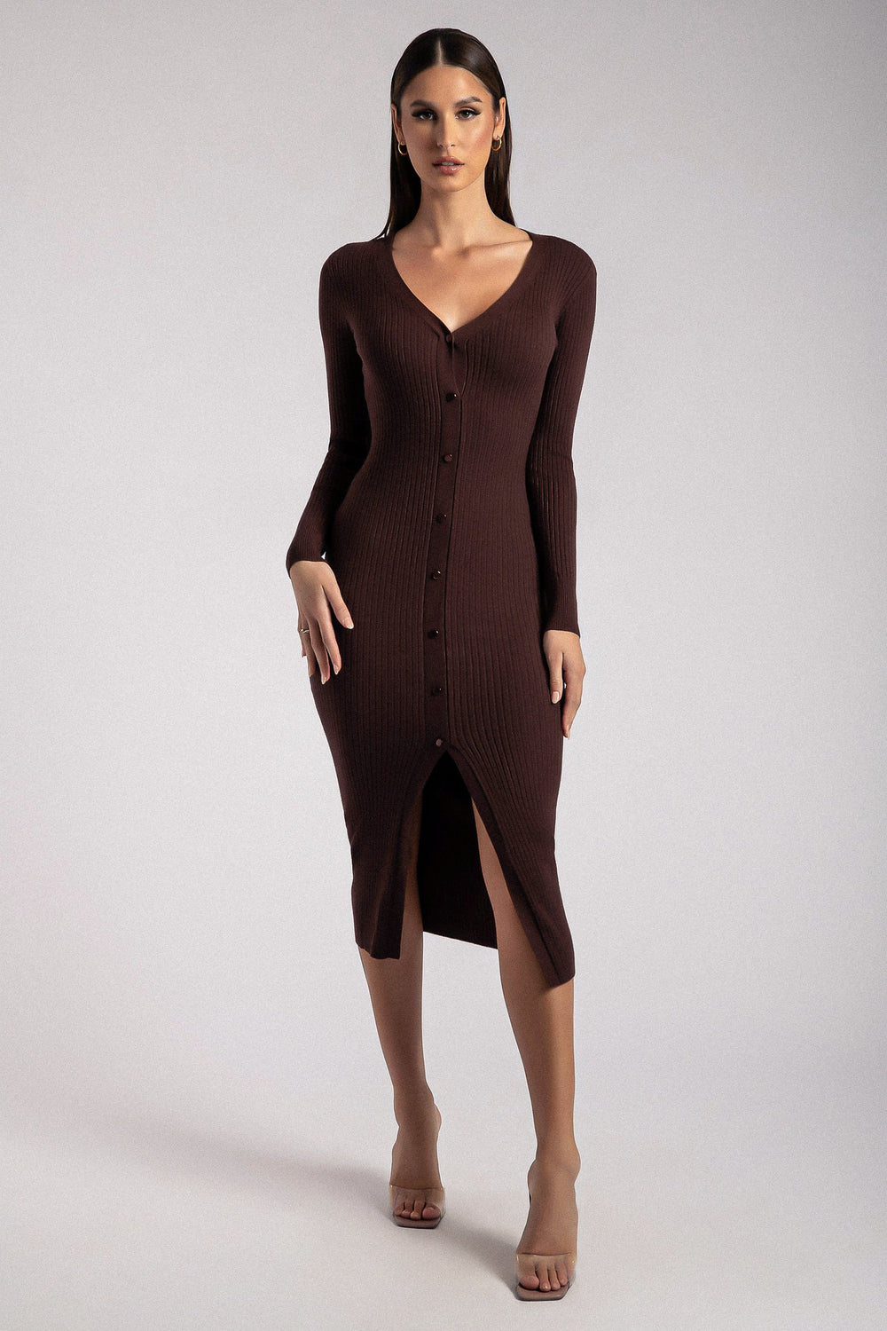Brynn Long Sleeve Button Down Midi Dress - Chocolate