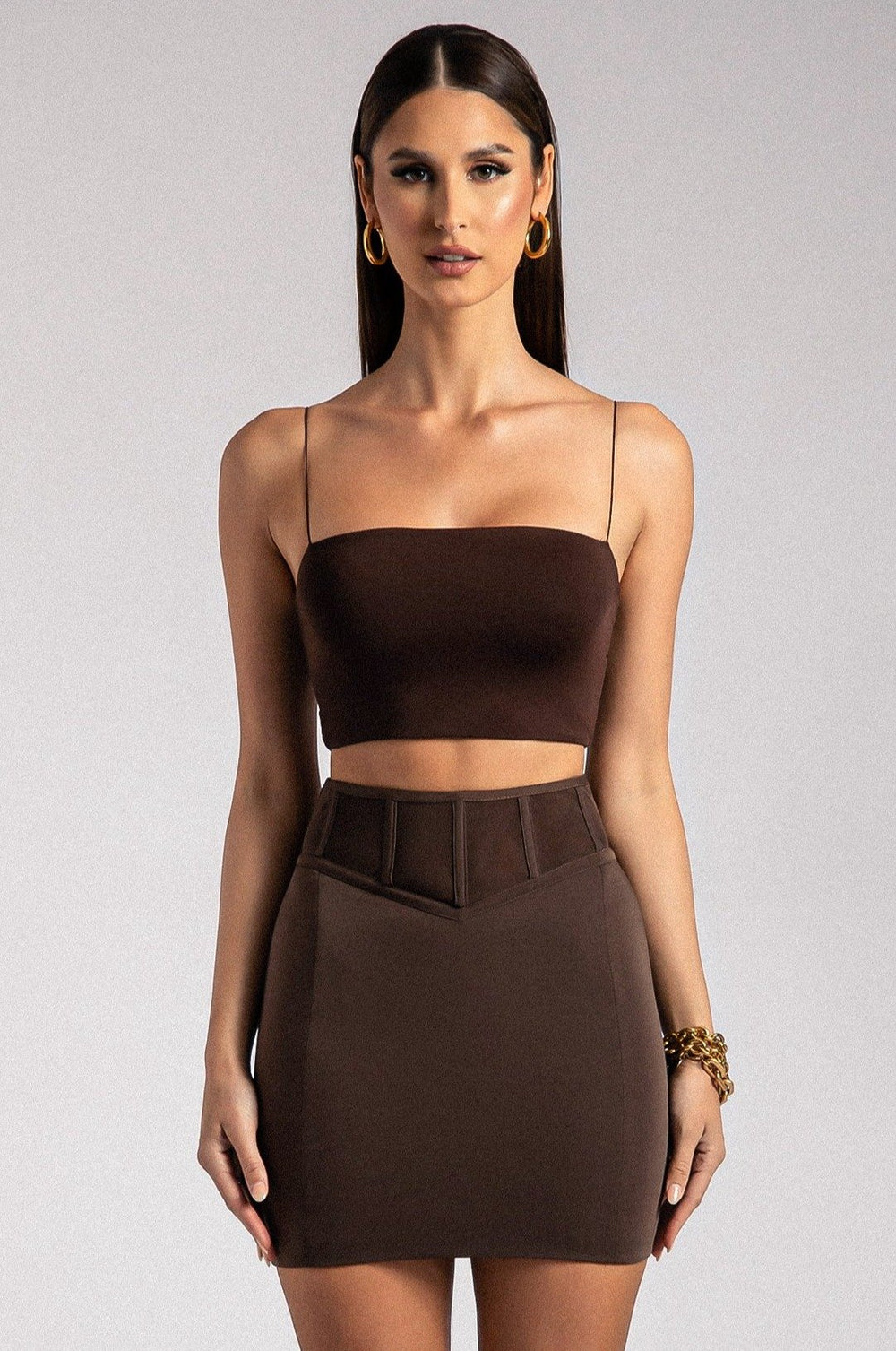 Nyla Corset Skirt - Chocolate