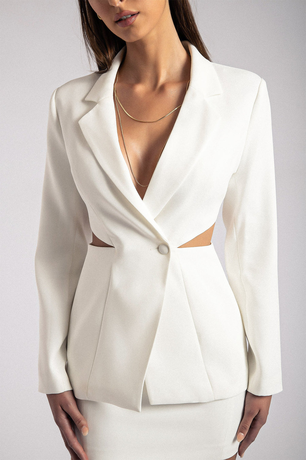 Nova Cut Out Blazer - White