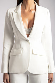 Helda Fitted Cinched Waist Blazer - White