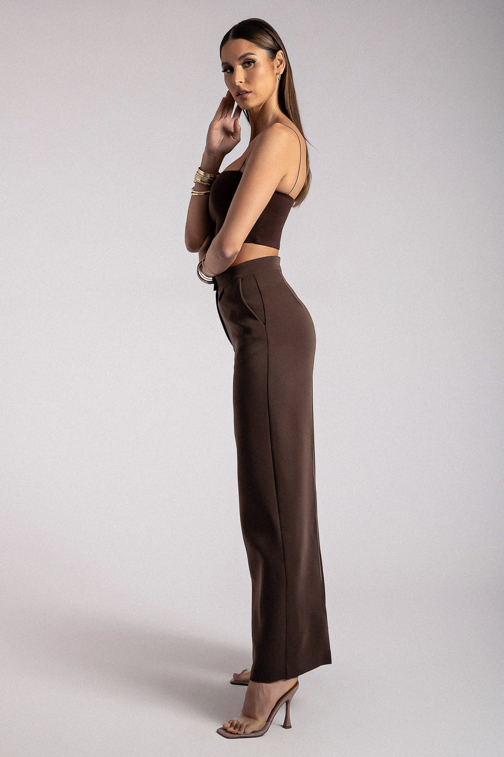 Alana Wide Leg High Waist Pants - Chocolate
