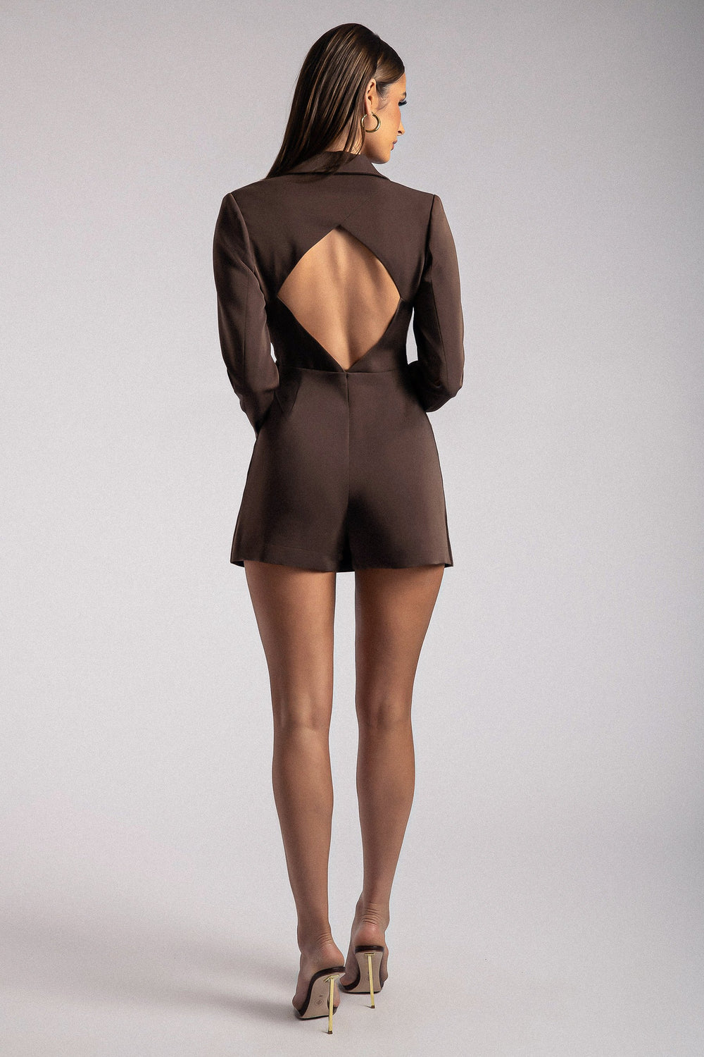 Kendall Cut Out Blazer Playsuit- Chocolate