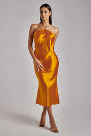 Ivana Satin Halter Midi Dress- Tangerine