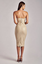 Pamela Strapless Faux Leather Dress - Cream