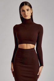 Zuri Long Sleeve Ribbed Knit Roll Neck Top - Chocolate