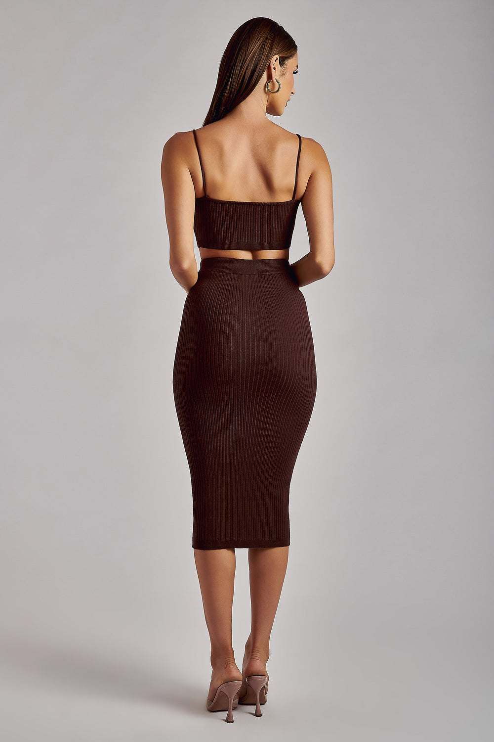 Wren Ribbed Midaxi Skirt - Chocolate