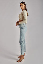 Brynn Long Sleeve Crop Cardigan - Cream