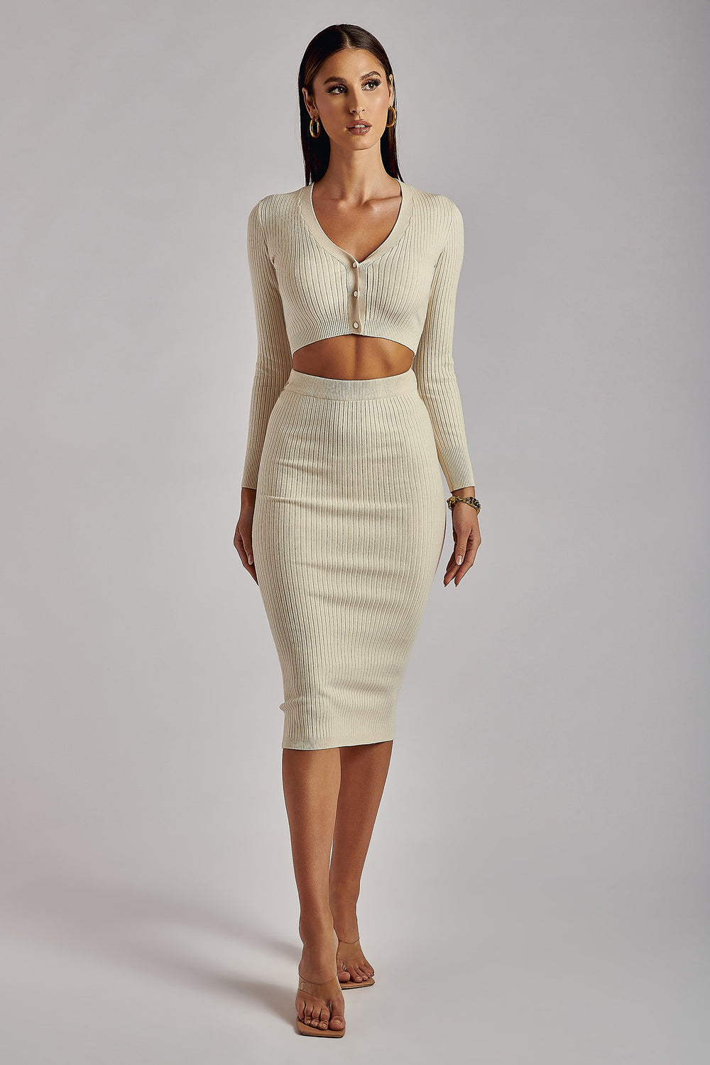 Wren Ribbed Midaxi Skirt - Cream