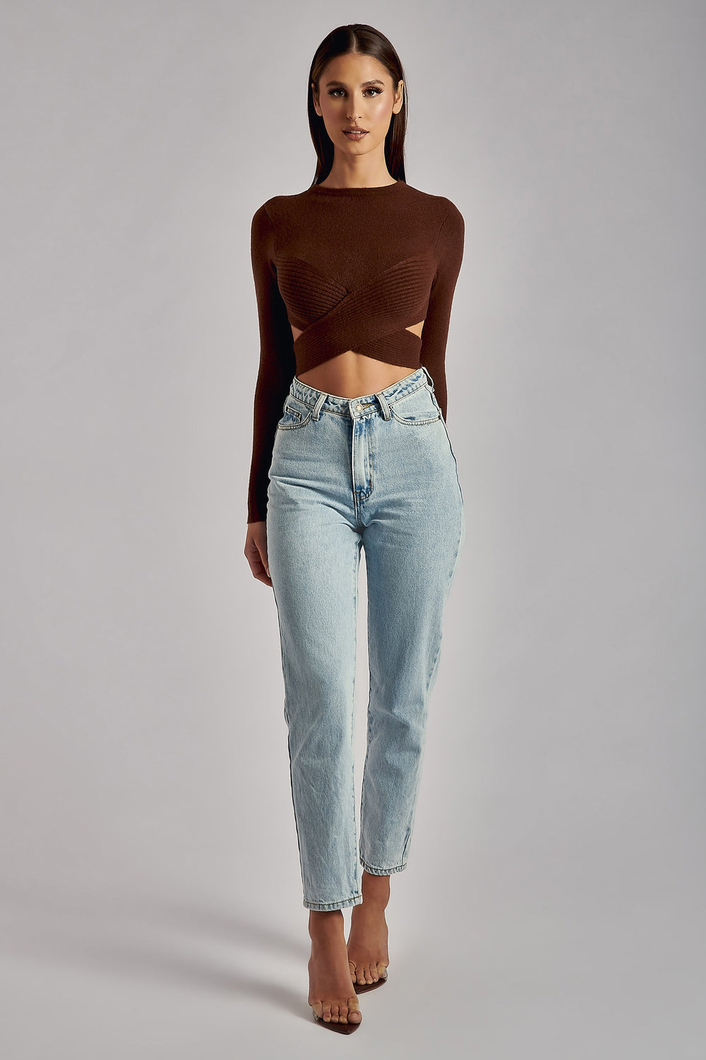 Maliyah Cross Wrap Detail Knitted Crop Top - Chocolate