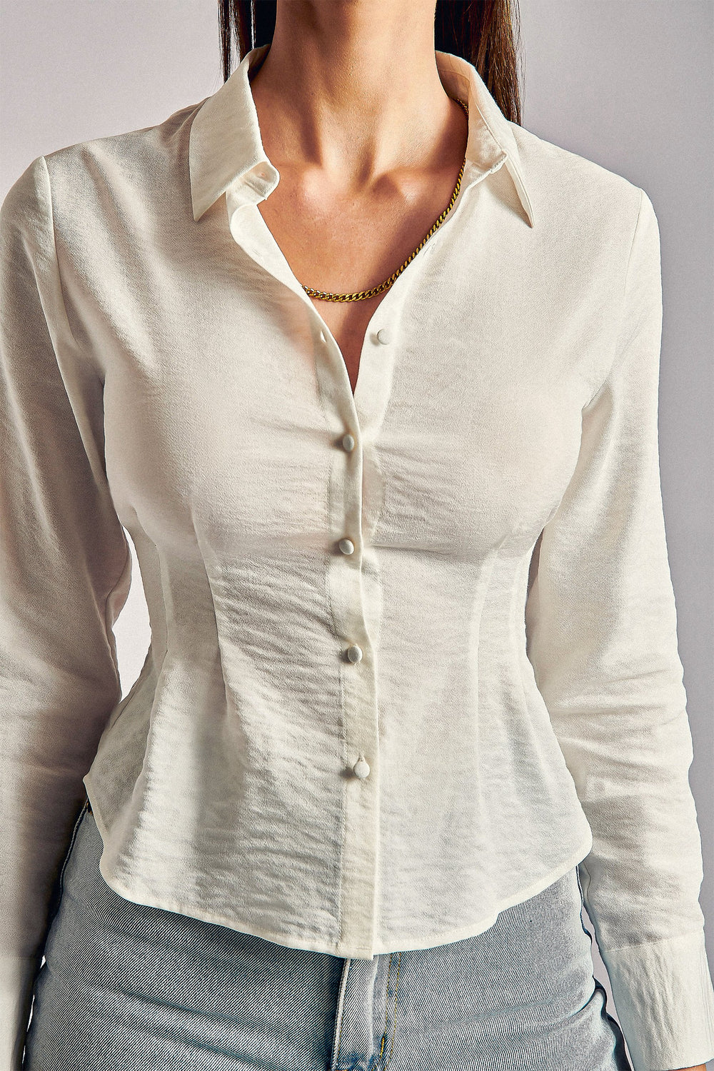 Anita Long Sleeve Tie Cuff Shirt - White