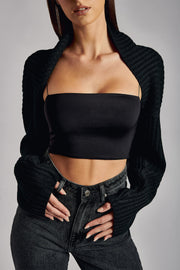 Ember Off Shoulder Cardigan - Black