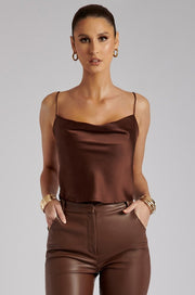 Gia Cowl Neck Cami Top - Chocolate