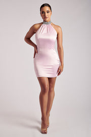 Anissa Diamante Collar Cowl Back Mini Dress - Baby Pink