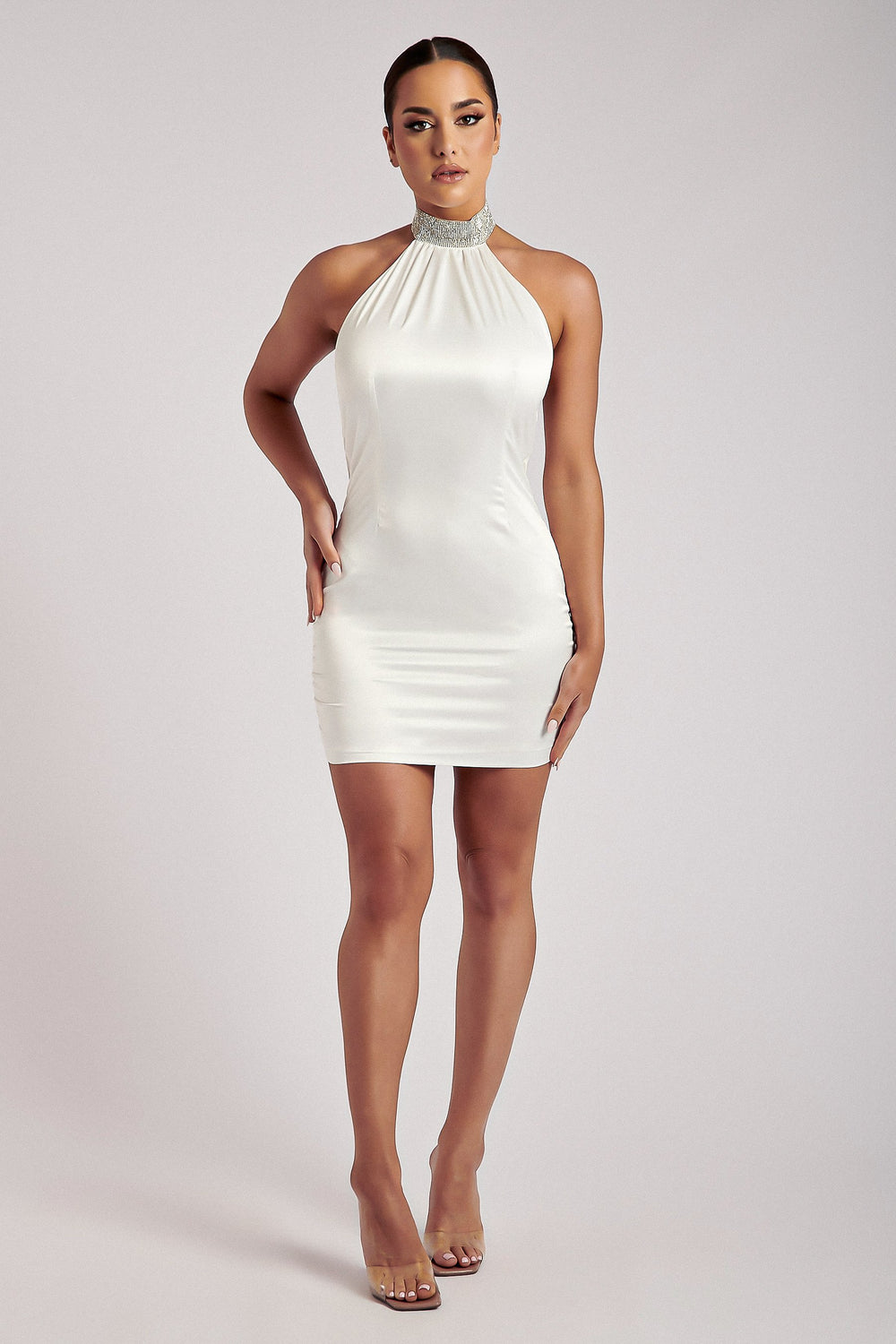 Anissa Diamante Collar Cowl Back Mini Dress - White