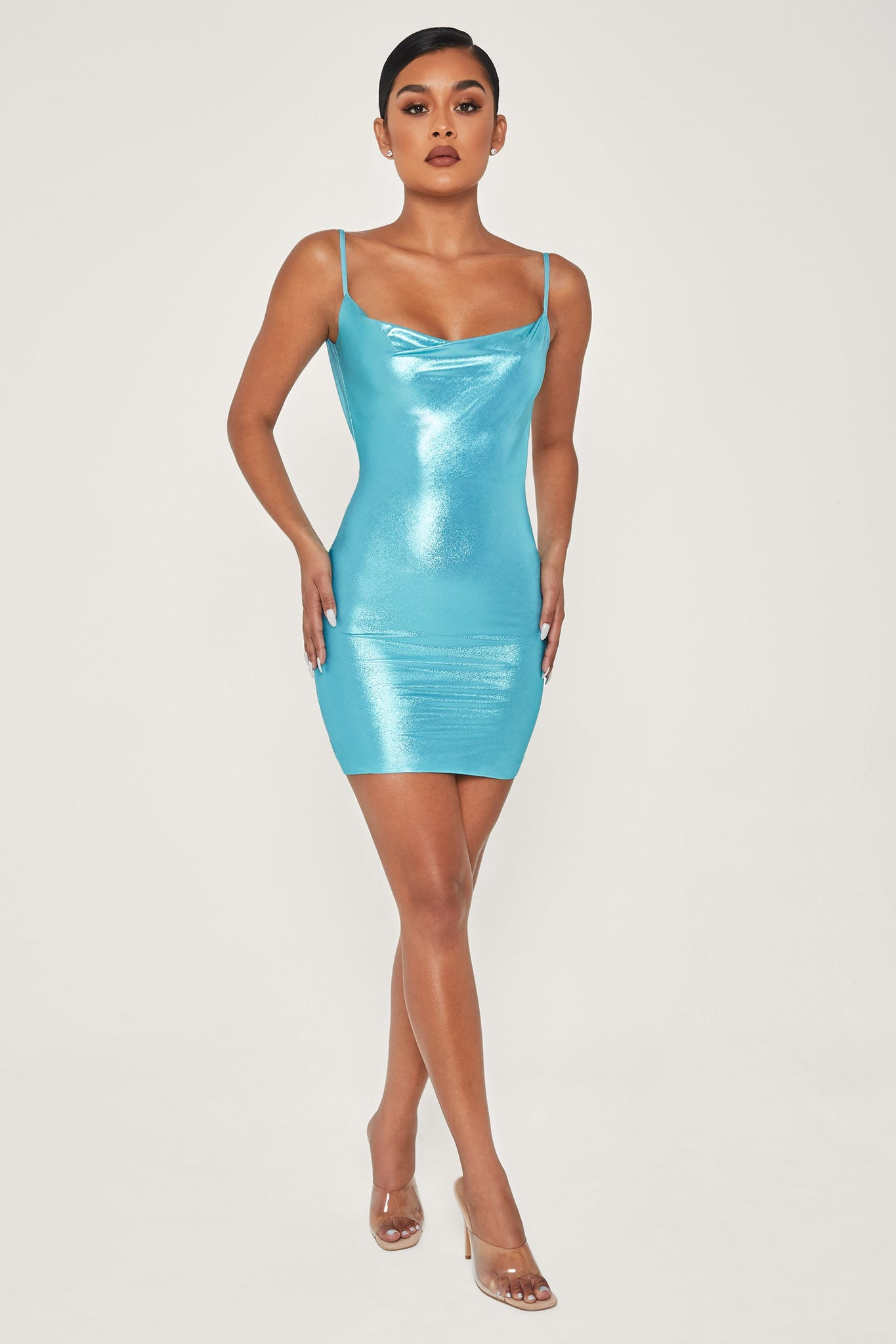 Kalia Cowl Neck Mini Dress - Turquoise - MESHKI