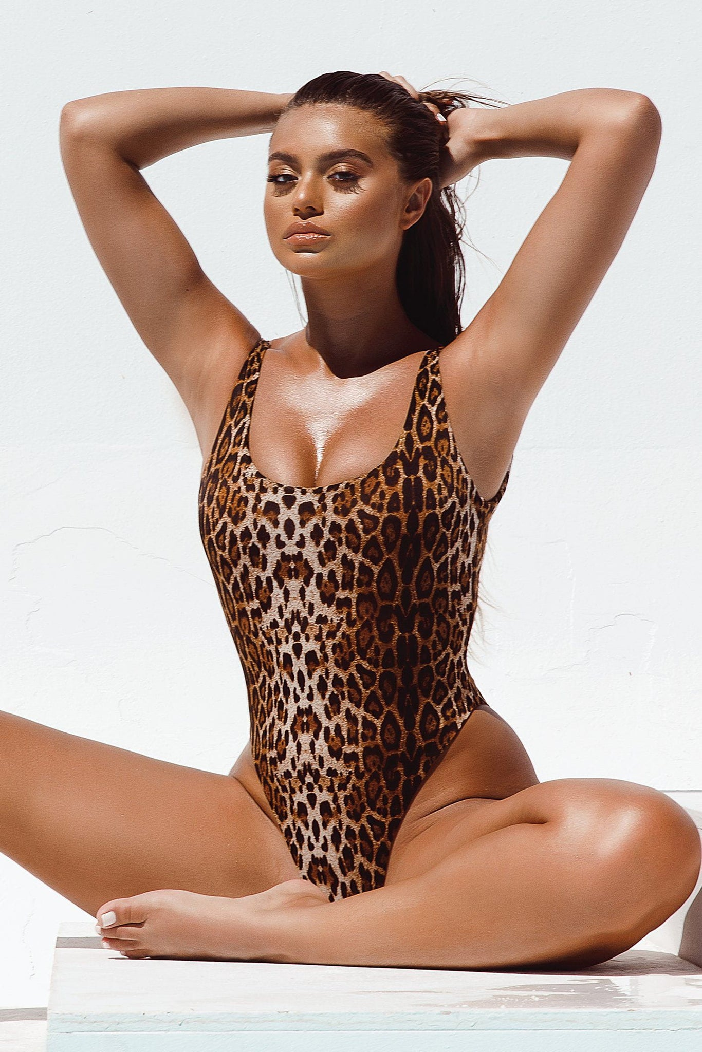 Abby Scoop Back One Piece Swimsuit - Leopard - MESHKI