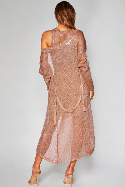 Catalina Longline Metallic Cardigan - Rose Gold - MESHKI