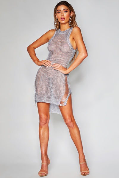 Jayla Metallic Knit Dress - Silver - MESHKI