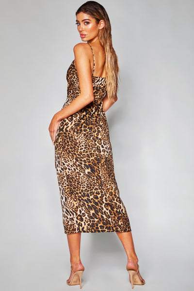 Kimberly Cowl Front Maxi Dress - Leopard - MESHKI