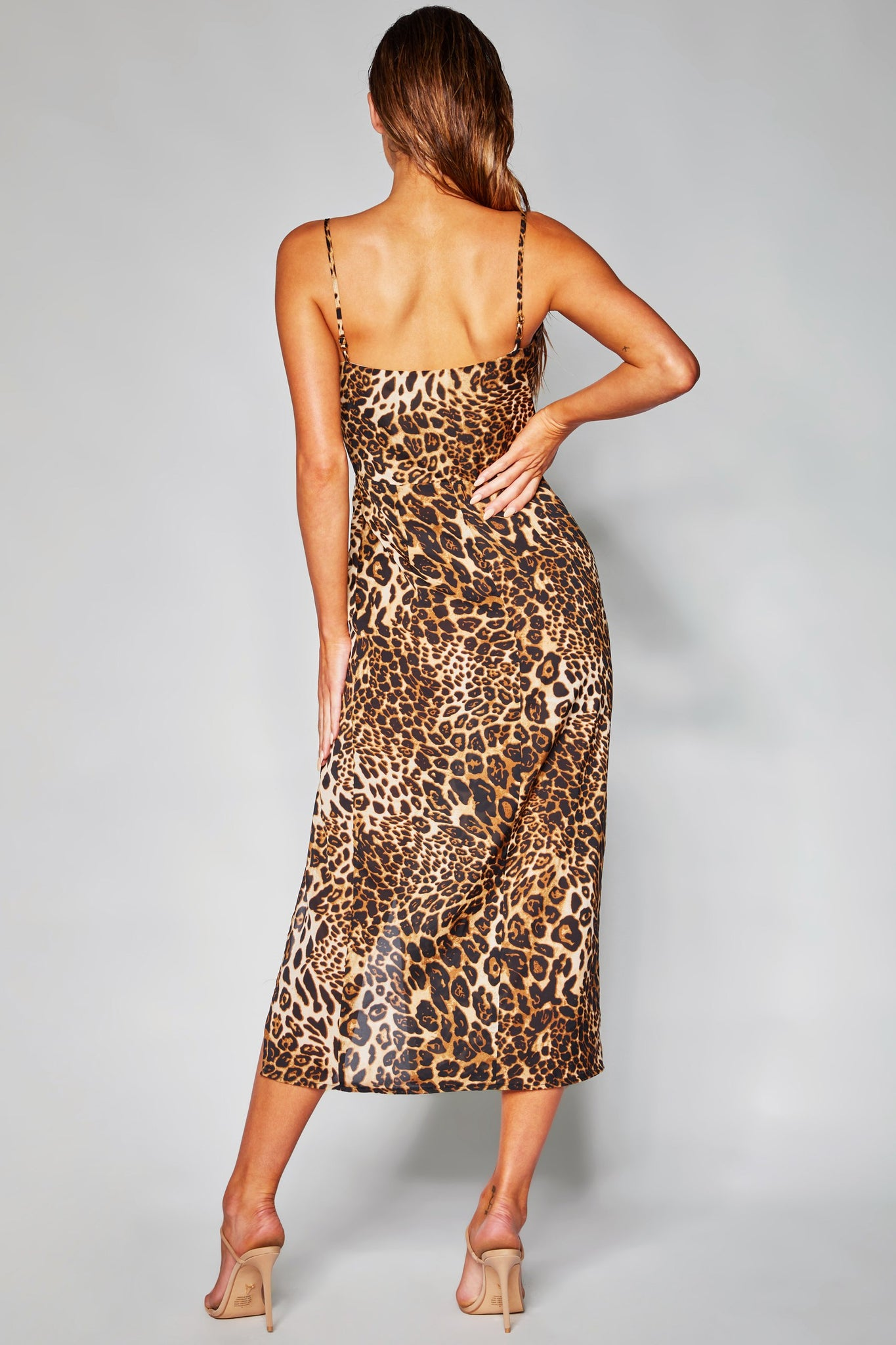 Kimberly Cowl Front Midi Dress - Leopard - MESHKI