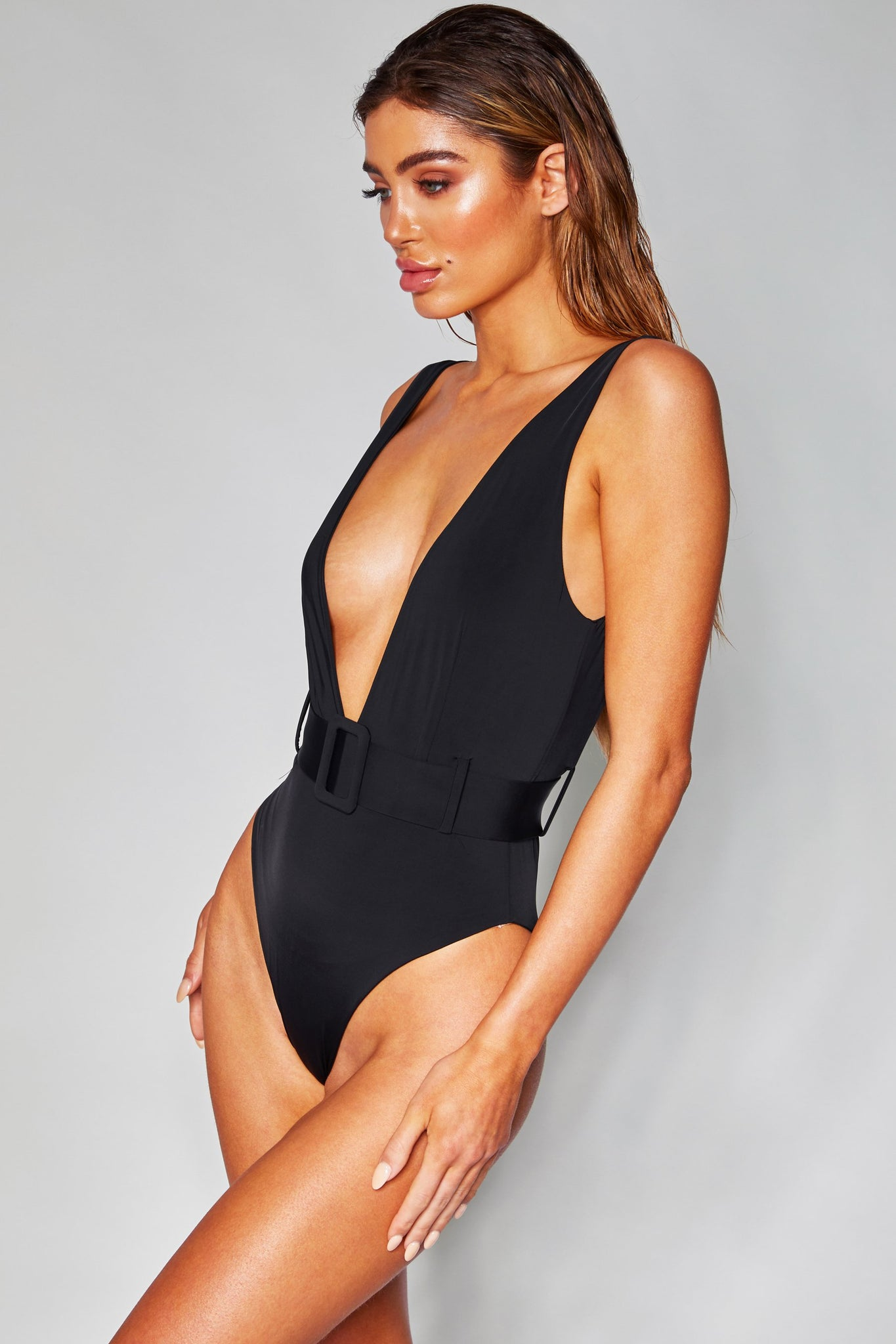 Hadley Belted Plunge One Piece - Black - MESHKI