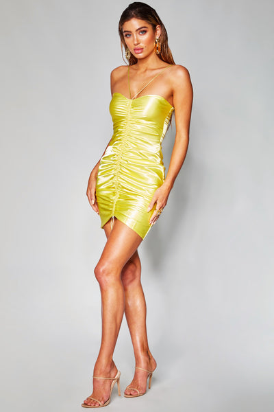 Harley Ruched Front Dress - Yellow - MESHKI