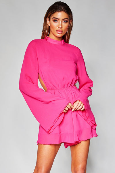 Greta Flared Sleeve Playsuit - Pink - MESHKI