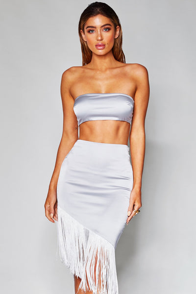 Luella Satin Thin Bandeau Top - Silver