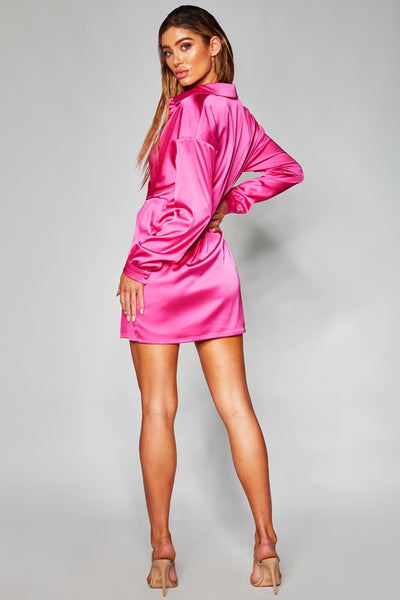 Allie Satin Wrap Shirt Dress - Hot Pink - MESHKI