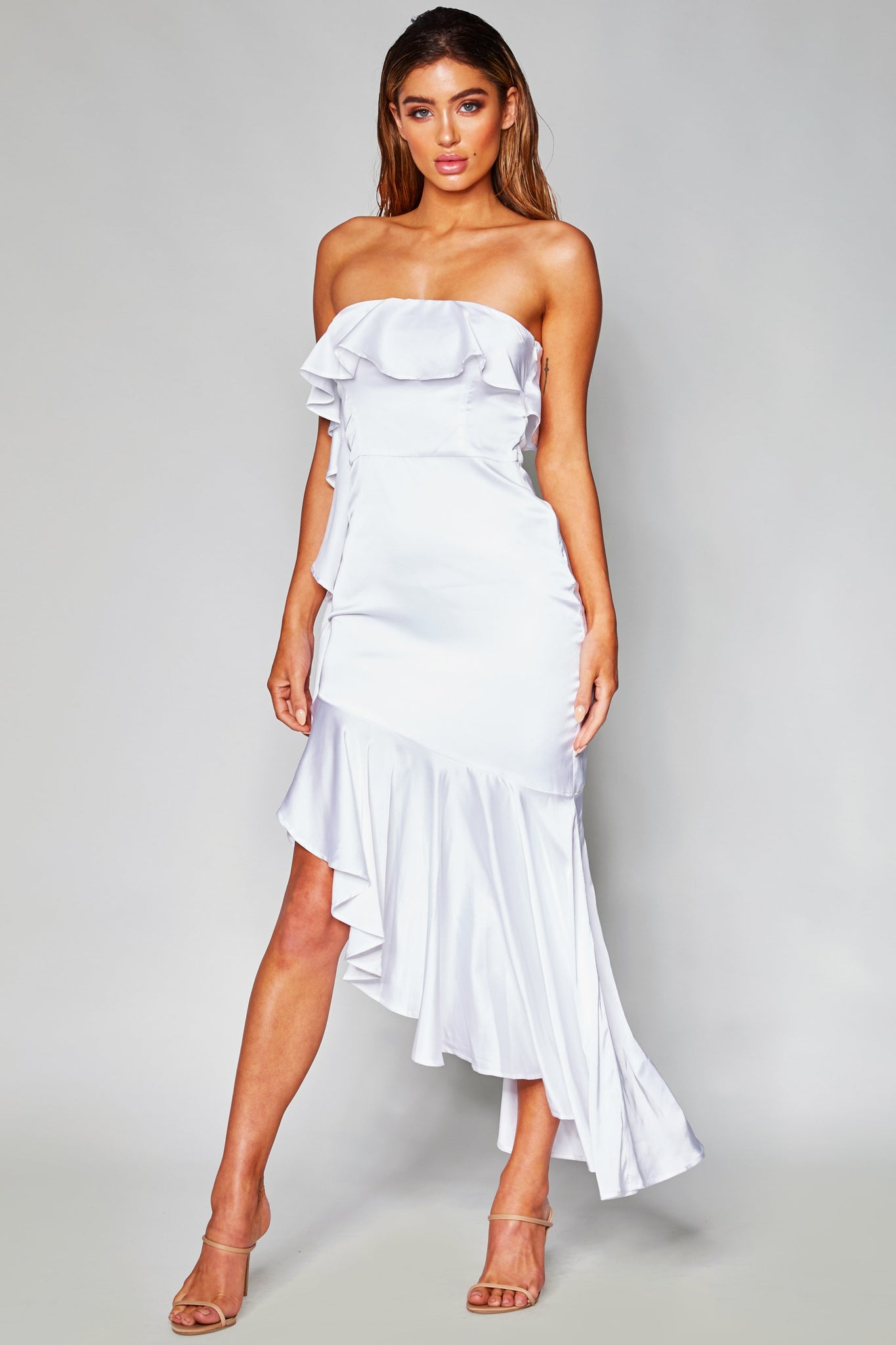 Jacinda Frill High Split Dress  - White - MESHKI