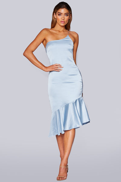 Alivia One Shoulder Midi Dress - Blue - MESHKI