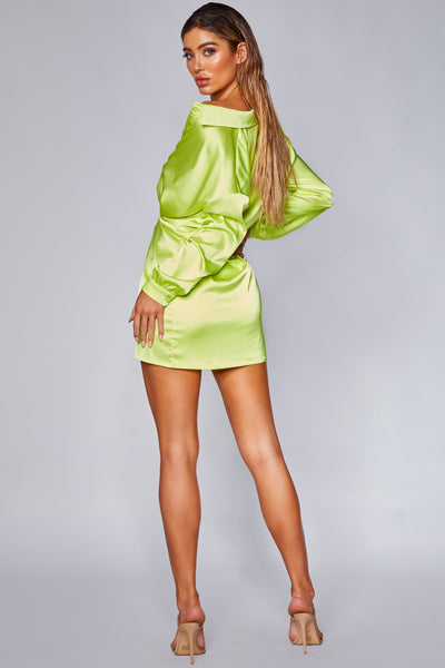 Allie Wrap Shirt Dress - Lime Green - MESHKI