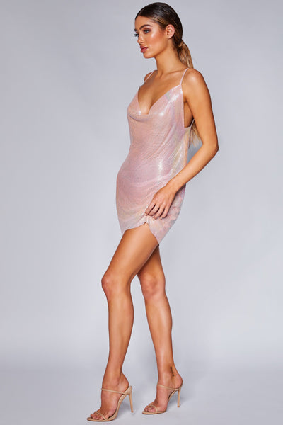Bailey Thin Strap Glow Mesh Dress - Light Pink - MESHKI