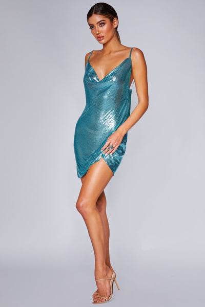 Bailey Thin Strap Glow Mesh Dress - Blue - MESHKI