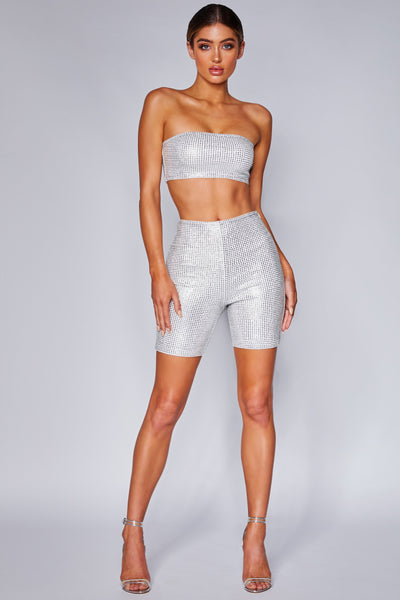 Ashley Diamante Bike Shorts - White - MESHKI