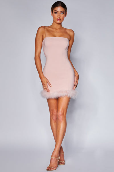 Elissa Feather Mini Dress - Pink - MESHKI