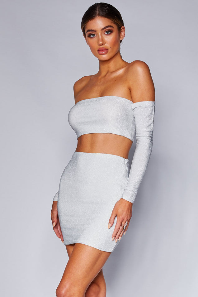 Valentina Off-Shoulder Crop Top - Silver Shimmer - MESHKI