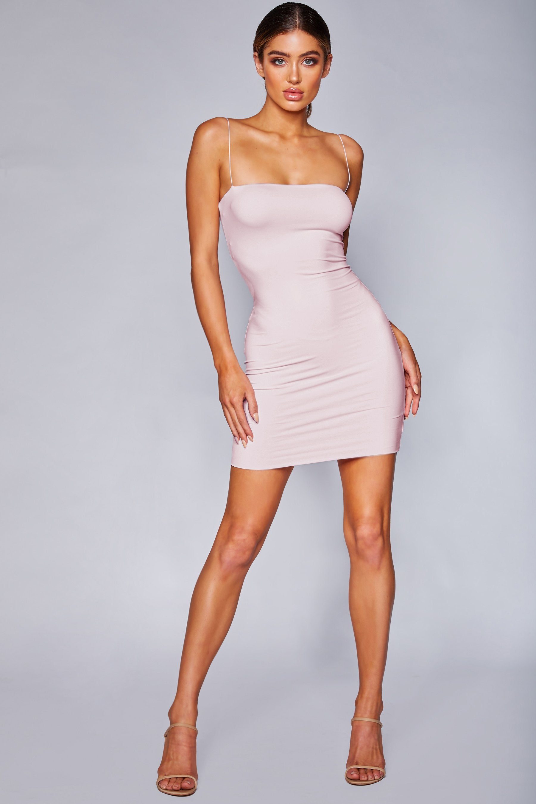 7f8cfedd9403 Mia Thin Strap Bodycon Mini Dress - Baby Pink - MESHKI