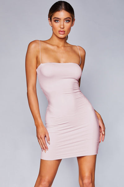 Mia Thin Strap Bodycon Mini Dress - Baby Pink - MESHKI