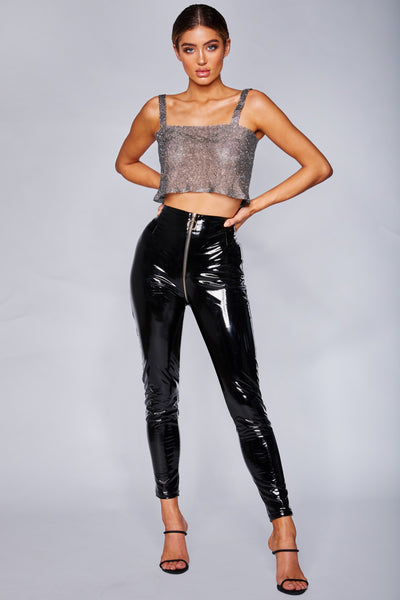 Madison Latex Zipper Front Pants - Black - MESHKI