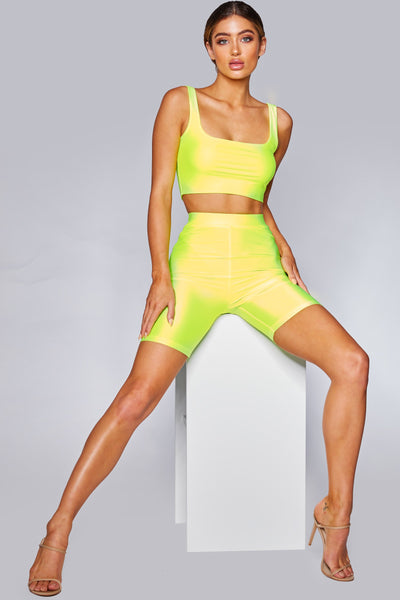 Jenna Slinky Bike Shorts - Neon Yellow - MESHKI